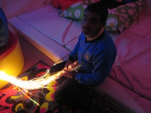 Kaif playing with the fiber optics in the Snoozelyn